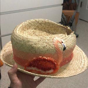 🌸Kate Spade Raffia Trillby Flamingo Hat